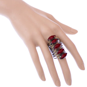 Red Beaded Coil Wrap Ring