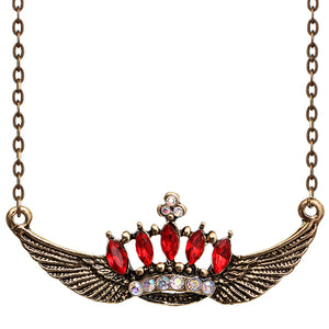 Red Crown Double Wing Chain Necklace