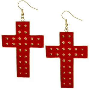Red Dotted Cross Dangle Earrings
