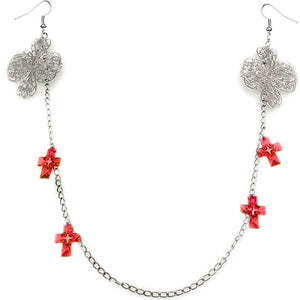 Red Double Cross Chain Necklace Earrings