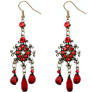 Red Elegant Chandelier Gemstone Earrings