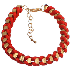 Red Fabric Twisted Metal Clasp Bracelet