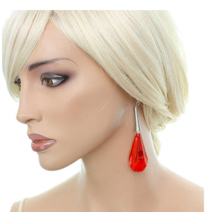 Red Faceted Faux Crystal Drop Earrings