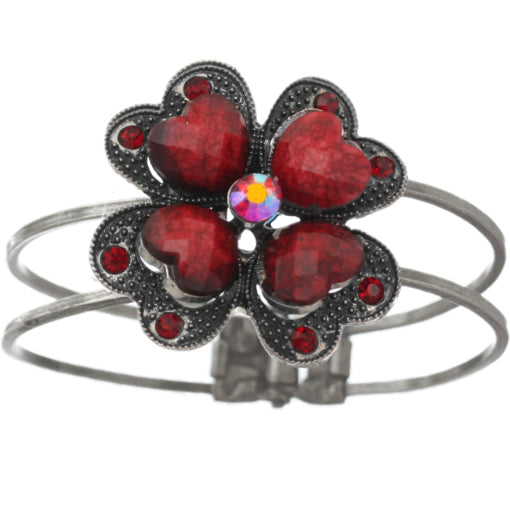 Red Heart Rhinestone Hinged Bracelet