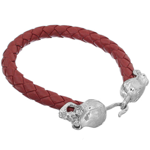 Red Faux Leather Skull Latch Bracelet