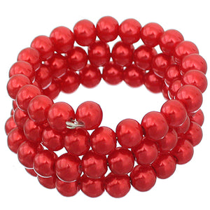 Red Faux Pearl Coil Wrap Bracelet