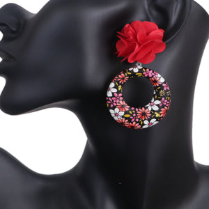 Red Floral Fabric Drop Hoop Earrings