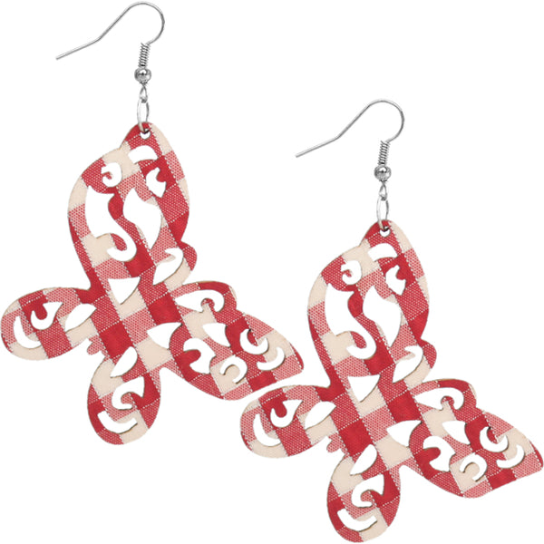 Red Gingham Earrings