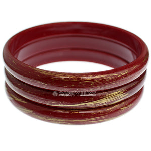 Red 3-Piece Gold Brush Stacked Bracelets