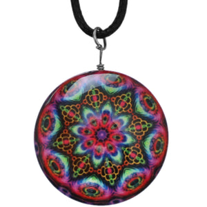 Pink Multicolor Kaleidoscope Nylon Charm Necklace