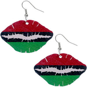 Red Green Wooden Kiss Me Earrings