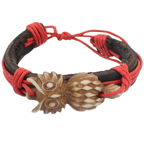 Red Faux Leather Hoot Owl String Bracelet