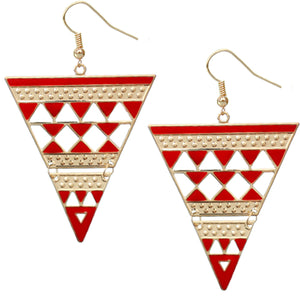 Red Inverted Cutout Triangle Earrings