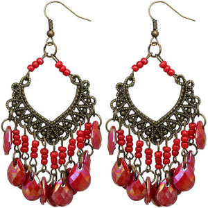 Red Iridescent Bead Dangle Earrings