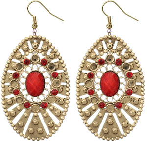 Red Large Round Studded Dangle Earrings