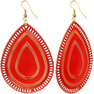 Red Extra Large Reflection Teardrop Earrings
