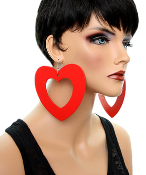 Red Gigantic Big Heart Earrings
