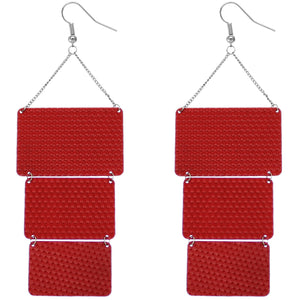 Red Triple Square Link Drop Earrings