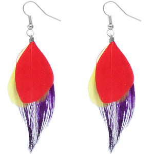 Red Multicolor Feather Drop Earrings