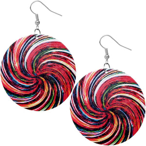 Red Colorful Swirl Pattern Wooden Earrings