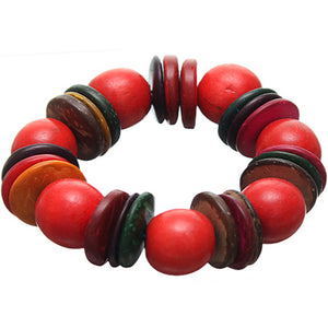 Red Multicolor Wooden Bead Stretch Bracelet