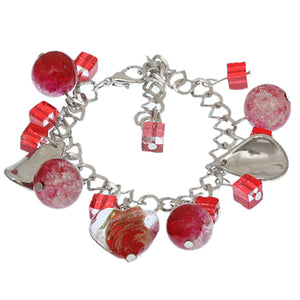 Red Murano Glass Heart Charm Chain Link Bracelet