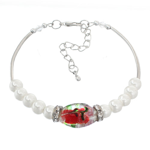 Red Murano Faux Pearl Beaded Bracelet