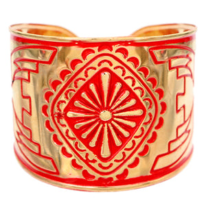 Red Double-Sided Art Deco Metal Cuff Bracelet