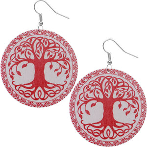 Red Tree of Life Wooden Earrings