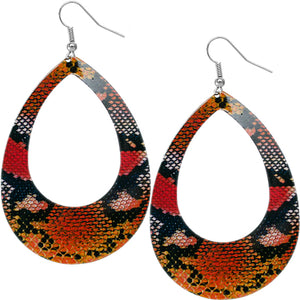 Red Orange Snakeskin Teardrop Earrings