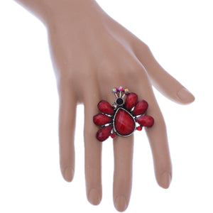 Red Large Beaded Peacock Adjustable Ring