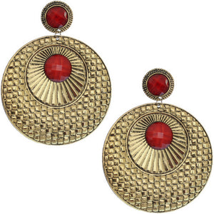 Red Large Beaded Thin Disc Earrings