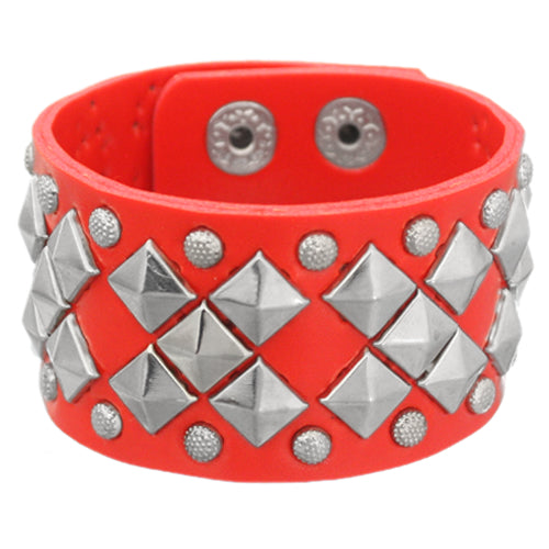 Red Faux Leather Pyramid Snap Bracelet