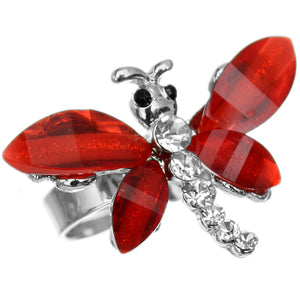 Red Rhinestone Mini Butterfly Adjustable Ring