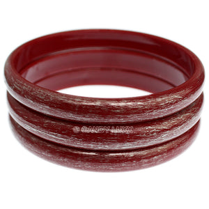 Red 3-Piece Brush Stacked Bracelets