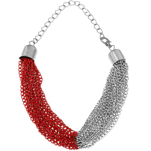 Red Silver Multi Line Chain Bracelet