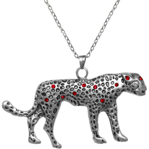 Red Spotted Cheetah Charm Necklace