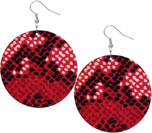Red Spotted Wooden Round Earrings