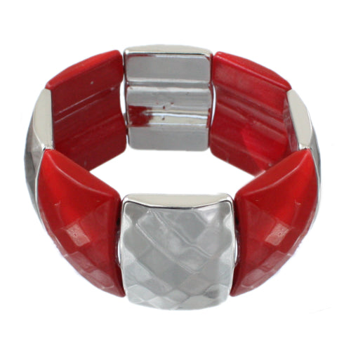 Red Two Tone Elastic Stretch Bracelet