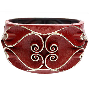 Red Swirl Textured Hinged Bracelet