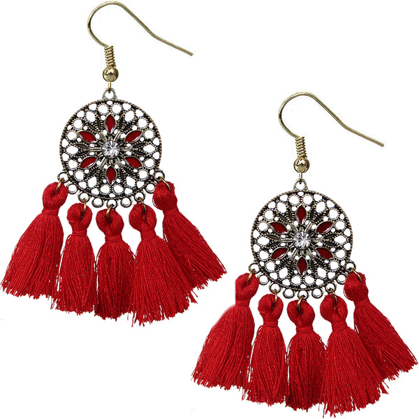 Red Tassel Fringe Drop Earrings