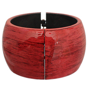 Red Glossy Textured Hinged Bracelet
