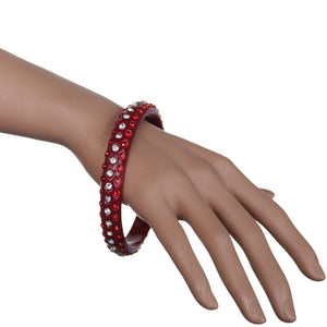 Red Triple Row Rhinestone Bangle Bracelet