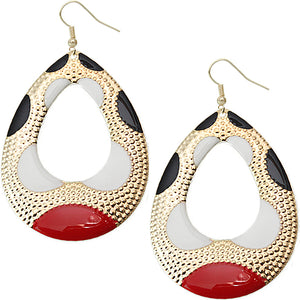Red Black Color Block Teardrop Earrings
