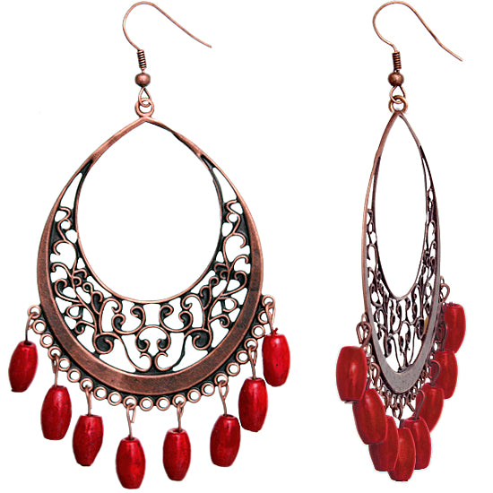 Red Wooden Filigree Drop Earrings