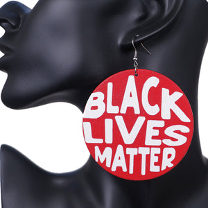 Red Wooden Black Lives Matter Earrings