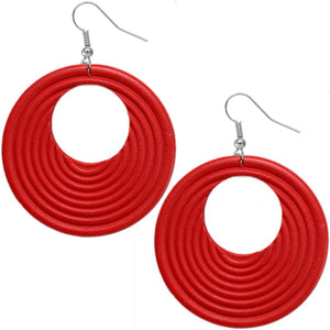 Red Wooden Circular Roll Texture Dangle Earrings