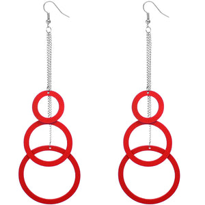 Red Drop Wood Earrings