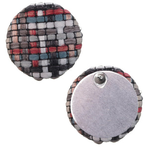 Red Woven Knit Stud Earrings