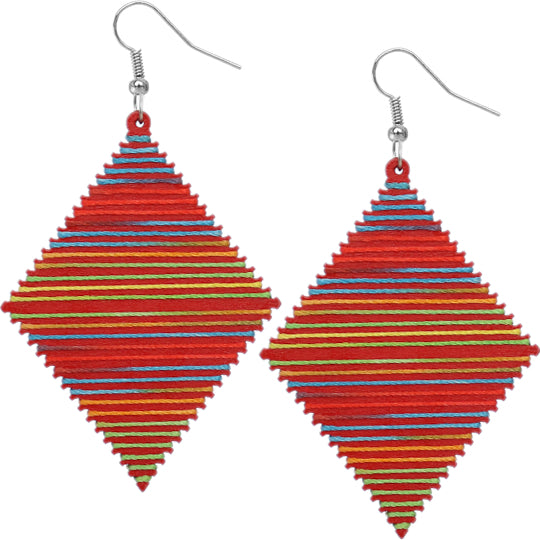 Red Multicolor Wooden Thread Wrapped Earrings